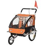 HOMCOM 2 in 1 Bike Trailer 2-Seater Child Stroller for Bicycle Baby Jogger Carrier Steel Frame Orange