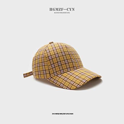 Hut Studentin Mode Plaid Baseball Cap einfache männliche Visier Harajuku Casual Cap gelb einstellbar