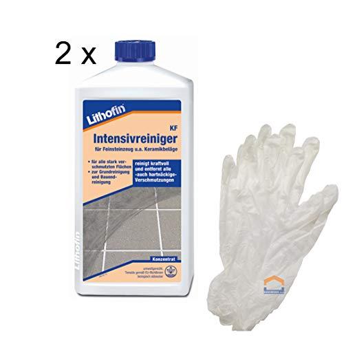 Lithofin KF Intensivreiniger 2 x 1 Liter + 10 Einweghandschuhe