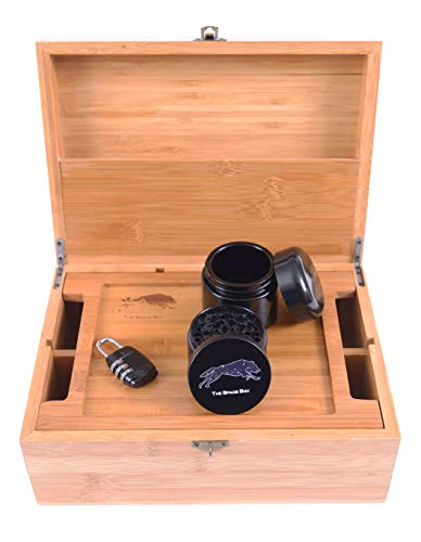 Stash Box (The Space Box) Premium Grinder Smell Proof UV Jar Rolling Tray Herb Stash Box storage with Lock Premium Bamboo Wood to store all smoking accessories