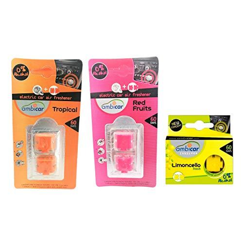 AMBICAR - Recambios para ambientador eléctrico COCHE o CASA. Pack MIX Nº1 (3 recambios) Esencias Naturales, SIN Alcohol ni Químicos. Aromas para difusor - Fragancias FRUTALES, Limón-Fresa-Frutas