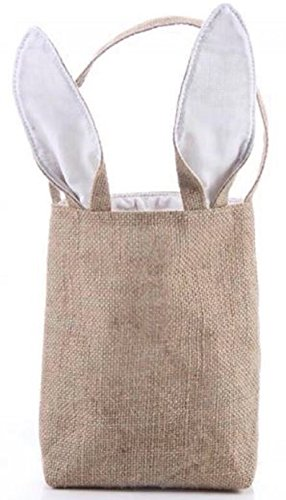 Easter Egg Hunt Basket Bag - Bunny Rabbit Ear Design - Reusable Grocery Shopping Baskets - Kids Party Gift Bags - Baby Shower & Book Storage - by Jolly Jon (Burlap/White Ears)