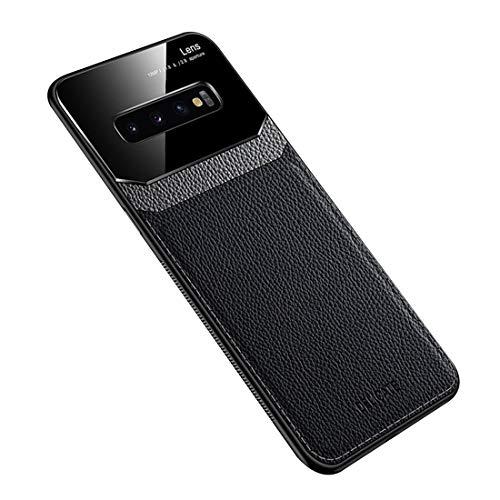Funda Compatible con Samsung Galaxy S10 Plus, Carcasa Ultra Delgado De Piel PU y Silicona Suave TPU Cover Case Carcasa para Galaxy S10+, Negro
