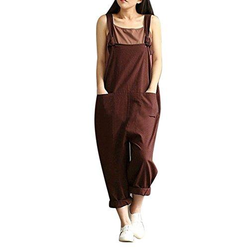 ZEFOTIM Womens Loose Jumpsuit Strap Belt Bib Pants Trousers Casual Overall Pants (L,Brown)