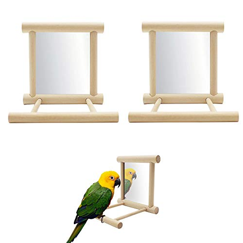 Seully 2 Pcs Parrot Bird Mirror,Bird Stand Perch with Mirror,Birdcage Perches Mirror Chew Toy,Cockatoo Cage Wood Toy for African Grey Macaw/Parakeet Cockatiels Conure/Lovebirds