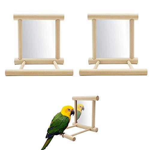 Seully 2 Stück Papagei Vogelspiegel, Vogelständer Barsch mit Spiegel, Vogelkäfig Barsch Spiegel Kauspielzeug, Kakadu Käfig Holzspielzeug für African Grey Macaw/Sittich Nymphensittiche Conure