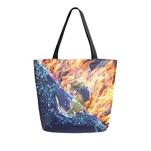 Ahomy Wiederverwendbare Einkaufstasche aus Segeltuch, Motiv: Globus in Feuer und Wasser, für Damen, Handtasche, Einkaufstasche, Arbeit, Schule