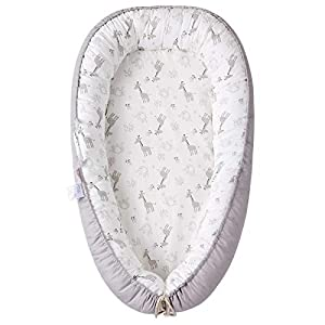 Baby Lounger Baby Nest, Portable Newborn Co Sleeper for Baby, Soft Breathable Baby Nest Sleeper, Adjustable for Baby Bassinet and Crib, Great for Newborn Shower Gift (Giraffe and Elephant)