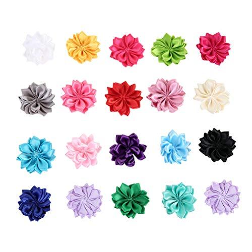 SUPVOX Flores de Fieltro de Lana Bricolaje Adornos de Flores de Tela para Manualidades Cintas de Costura Bebé Niñas Pelo Flor 20 Piezas (Color al Azar)