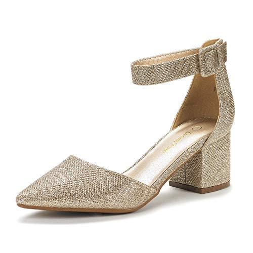 DREAM PAIRS Women's Annee Gold Glitter Low Heel Pump Shoes - 7.5 M US