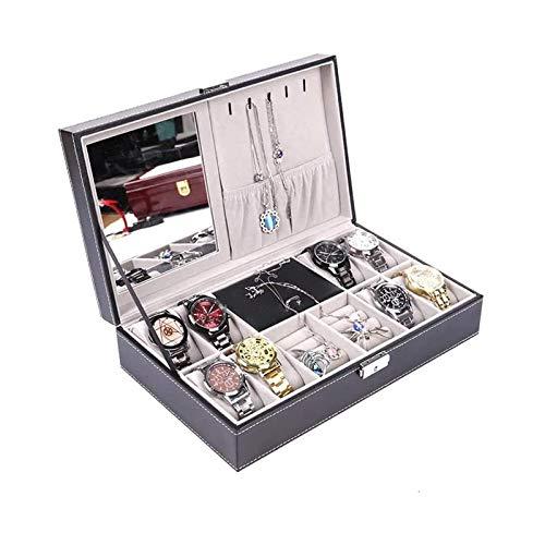 SSHA Joyero 8 Reloj Mostrar Caja Organizador Joyería Caja de Almacenamiento Joyería Caja de PU Negro PU con Espejo y Bloqueo Organizador de Joyas