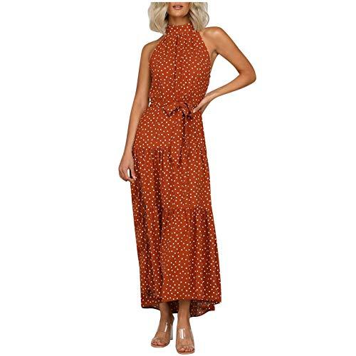 JUNLIN Polka Dot I-Shaped Sleeveless Ruffled Long Skirt Irregular Skirt (Red, XL)