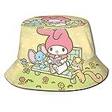 Hello Kitty Melody - Sombrero de pescador para la playa, plegable, para verano, viajes, al aire libre, color negro