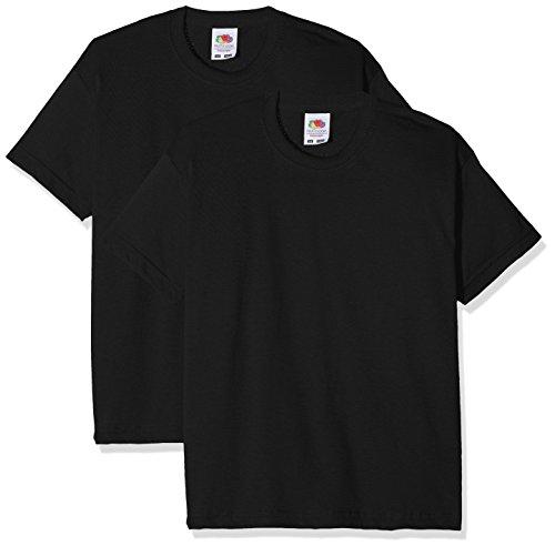 Fruit of the Loom Jungen Kids Valueweight Short Sleeve T 2 Pack T-Shirt, Schwarz (Schwarz Schwarz), 9-10 Jahre (2er Pack)