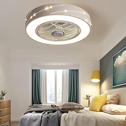 Luz De Techo LED Ventiladores Modernos Con Control Remoto Fan Regulable Lámpara De 46W Dormitorio Para Niños Sala De Estar Ventilador De Jardín Infantes Iluminación Suspensión De Luz,Blanco