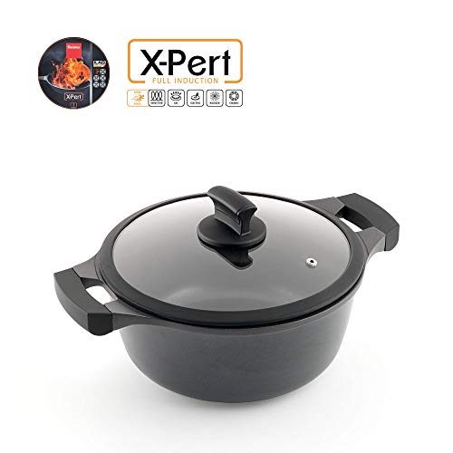 Metaltex XPERT-Cacerola Alta Aluminio Fundido, 24 cm, Antiad