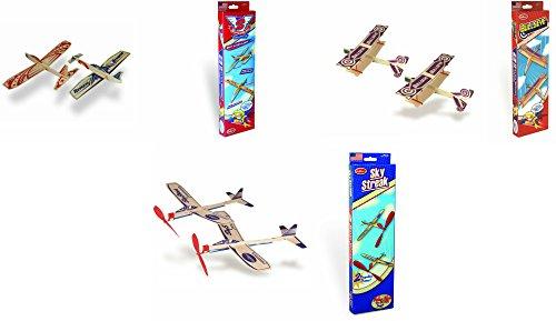 Guillow Balsa Wood Airplane Set - 3 Balsa Airplane Kits in One Set - Super Hero Twin Pack, Sky Streak Twin Pack, and Bullseye Twin Pack - 6 Planes Included