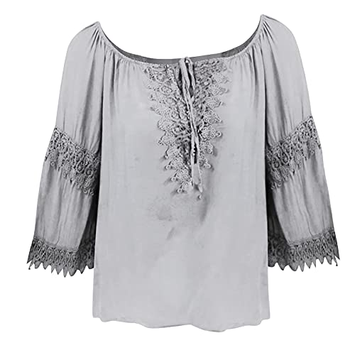 Wave166 Blusa sexy para mujer, hombros descubiertos, camiseta de manga 3/4, de encaje, patchwork, camisas abovedadas, ligeras, de algodón y lino, gris, M