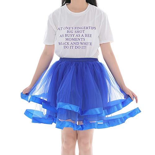 LIUWEI Enaguas Cintura elástica Petipoat Puffy Tutu Tulle Subskirt Net Tulle Princess Ballet Danza Pettiskirts (Color : Blue, Size : Waist 74 130 cm)