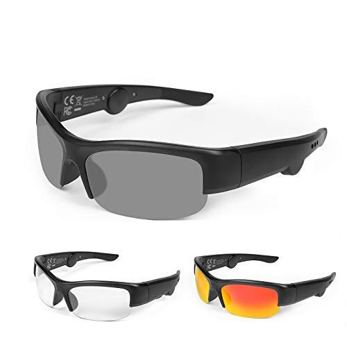TJ Half-frames Audio Sonnenbrille mit offenem Ohr Kopfhörer intelligente Sonnenbrille für Männer Frauen Fahrradbrille UV400 Leichtgewicht beim Radfahren, Größe:142mm Mitte