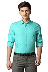 Peter England Mens Solid Slim fit Casual Shirt Blue