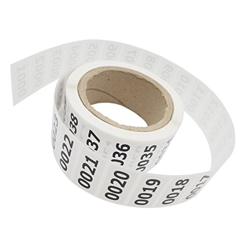 Squad Goods Consecutively Numbered Labels Self-Adhesive Roll 0001-1000