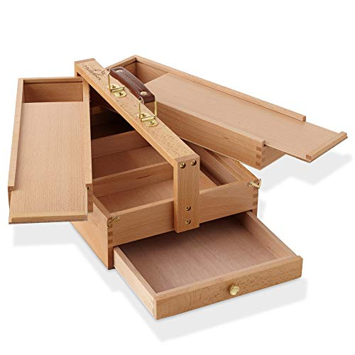 7 Elements Beechwood Multi-Function Artist Tool Box - Art Supplies Storage Organizer with Drawers