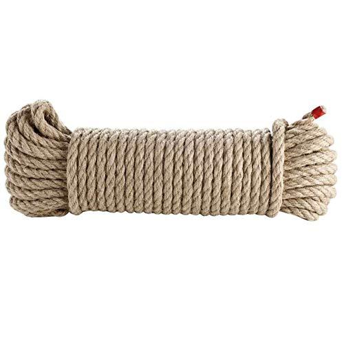 CORDERIES TOURNONAISES 07196 - Corde de Chanvre Naturel - Sans Élasticité - 8 mm x 20 m - Résistance 800 Kg