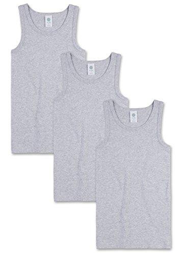 Sanetta Jungen Unterhemd im Dreierpack aus Bio-Baumwolle - Made in Europe - Neptun (50226), 188, Farbe:hellgrau Melange (1646), Größe:152