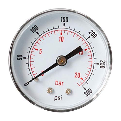 Manometer, 1/4 BSPT Anschluss von hinten, 0-300 PSi, 0-20 Bar passend für Druckminderer/Wasserfilter/Sandfilteranlage
