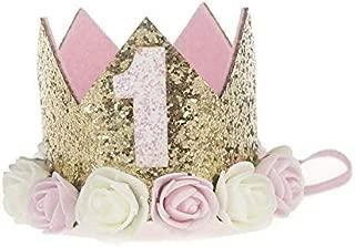 Baby Princess Tiara Crown Kids First Birthday Rose Headband Hair Accessories