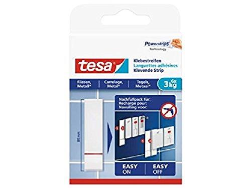 tesa Powerstrips Klebestreifen (für Fliesen und Metall 3 kg, Doppelseitige Streifen für feste, glatte Flächen, bis zu 3 kg Halteleistung pro Streifen) 6 Stück