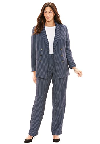 Jessica London Women's Plus Size Double-Breasted Pantsuit - Navy/White Stripe, 18