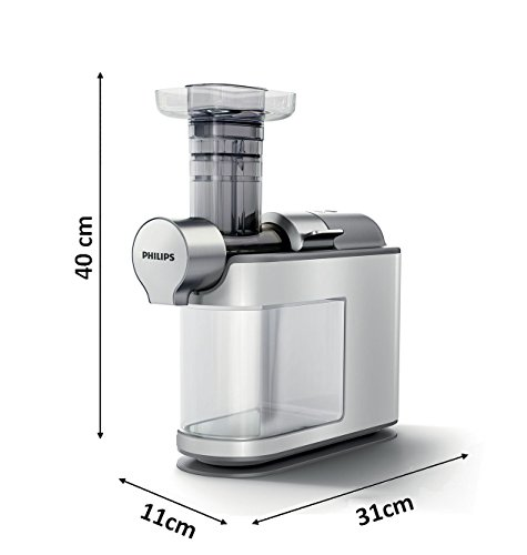 Philips HR1945/80 Slow Juicer (200 W, Entsafter für kaltes Pressen, maximale Nährstoffextraktion) weiß