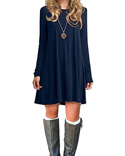 Durio Damen Einfaches Kleider Basic Casual A-Linie Skaterkleid Freizeit Kleider Fließendes Kleid Langarm Beiläufige Shirt Lose Rundhals Tunika Dunkelblau EU 46(Tag XL)