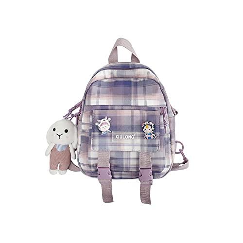 bolsos de hombro de la moda pequeña mochila de la escuela japonesa fresca suave chica mochila lindo bolsas para las mujeres mochilas de viaje, color Morado, talla Talla única