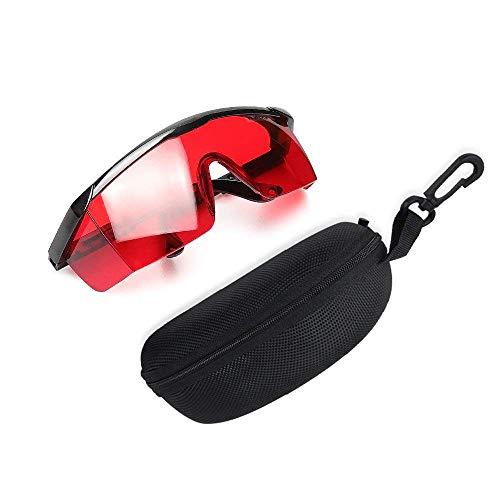 Gafas de mejora láser rojo - Gafas de seguridad Huepar GL01G con protección ocular ajustable para alineación rojo, líneas cruzadas y múltiples y láseres rotativos con función anti pérdida y estuche protector duro gratis