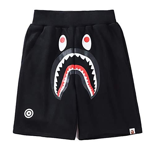 Bape Athletic Pants Shark Pattern Camo Bape Shorts Men Bape Sports Shorts (Black 2, M)