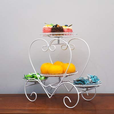 3-Tier Metal Fruit Basket Holder With Removable Acrylic Bowl,Home Decorative Bowl Stand for Fruit, Vegetables, Snacks,White