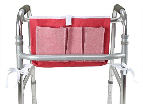 ObboMed MY-5910N Rollator, frame tas, met meerdere opbergzakken, reistas, klittenbandsluiting en banden voor stevige bevestiging, katoen polyester; roze