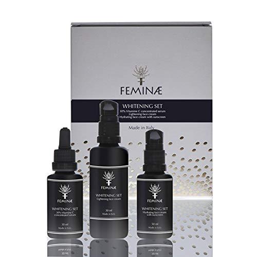 Crema facial aclaradora + Crema hidratante con filtro solar + Suero con vitamina C concentrada al 30%