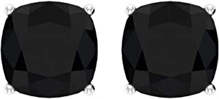 Certified 6 Ct Solitaire Black Spinel Earring, Cushion Cut Gemstone Stud Earring, Vintage Wedding Earring, Officewear Earring, Promise Earring for Her, Screw back