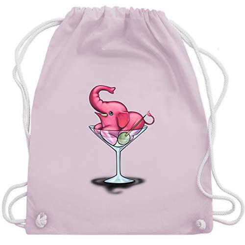 Comic Shirts - Rosa Elefant - Martini - Unisize - Pastell Rosa - turnbeutel rosa - WM110 - Turnbeutel und Stoffbeutel aus Baumwolle