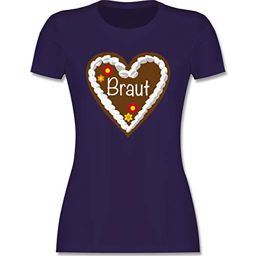 JGA Junggesellenabschied Frauen - Lebkuchenherz Braut - L - Lila - Tshirt Braut Lebkuchenherz - L191 - Tailliertes Tshirt für Damen und Frauen T-Shirt