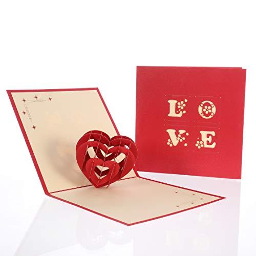 hellomagic 3D Pop Up Grußkarten Liebe, Handgemacht 3D Liebeskarte, Herzkarte zum Jahrestag, Hochzeitstag