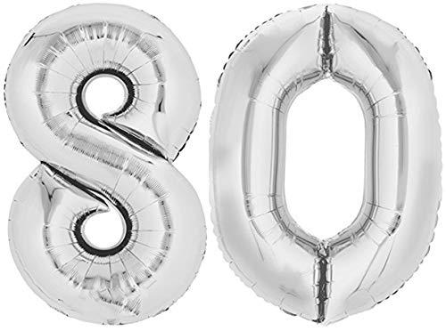 TopTen Folienballon Zahl 80 XL Silber ca. 70 cm hoch - Zahlenballon für Ihre Geburstagsparty, Jubiläum oder sonstige feierliche Anlässe (Zahl 80)