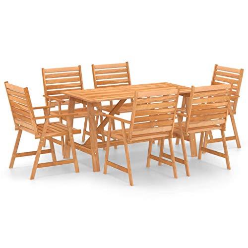 vidaXL Akazienholz Massiv Gartenmöbel 7-TLG. Sitzgruppe Gartengarnitur Gartenset Sitzgarnitur Esstisch Gartentisch Gartenstuhl Tisch Stühle
