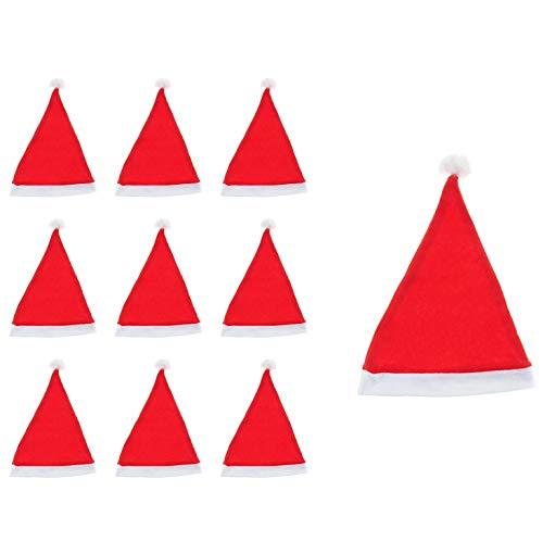 thematys Weihnachtsmann Nikolaus Mütze Hut Zipfelmütze 10er Set - in 2 verschiedenen Designs für Erwachsene - perfekt für die Weihnachtszeit (Style 1)