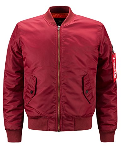 Lentta Men's Casual Autumn Thin Baseball Bomber Short Aviator Flight Zip Jacket (Small, Wine Red)