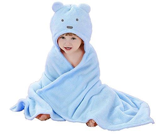 Peignoir de Bain à Capuche Animaux/Serviette de Bain avec Chapeau Bébé 100 * 100/ Serviette Drap de Bain Bebe Panda (0-2 Ans) (Bleu)